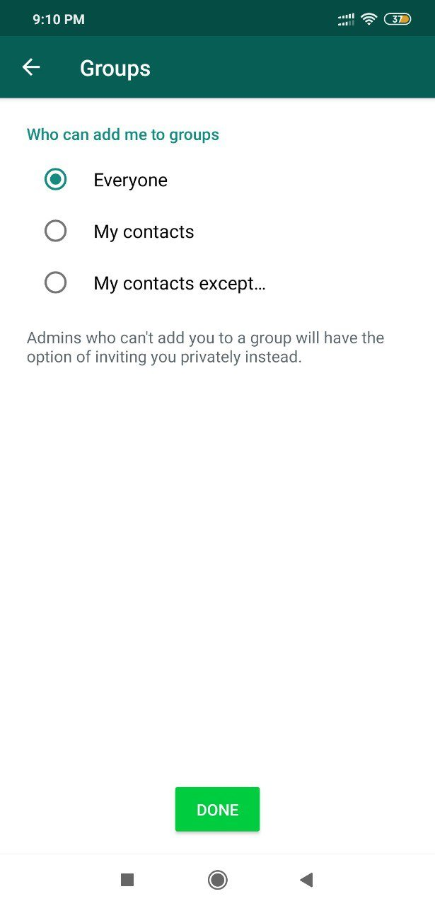 how to block group add in whatsapp