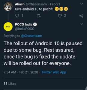 Poco F1 android 10 update