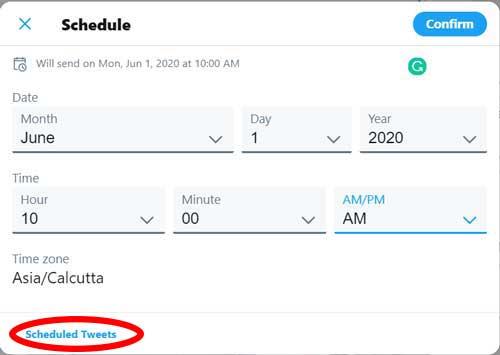 schedule tweets
